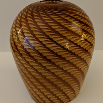 Vintage Murano Glass Pendant Shade - Swirl/Spirals - Amber - Art Glass