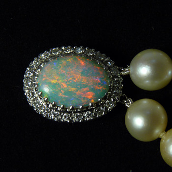 A Crystal Opal, Diamond and Pearl Bracelet, by Oscar Caplan of Baltimore