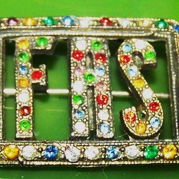 F.A.S vintage multi- rhinestone brooch - Costume Jewelry