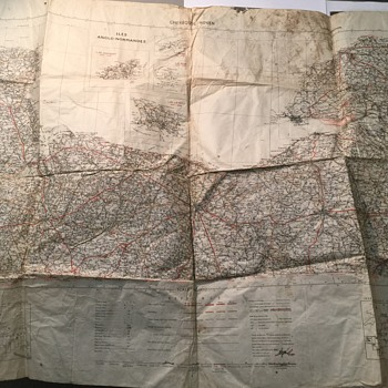 First edition map of military map iles anglo-normandes cherbourg-rouen - Military and Wartime