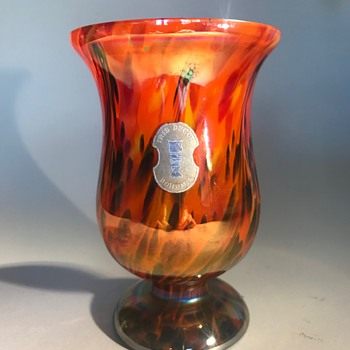 Kralik Iris vase with red, yellow, green spatter and pulls - Art Glass