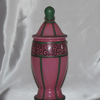 Pink and Green Enameled Covered Candy - Art Glass