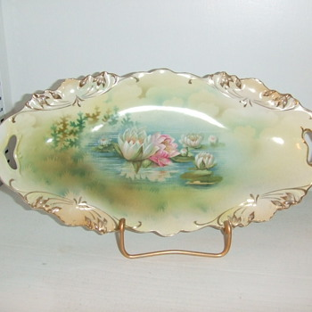 RS Prussia Reflecting water lillies tray - China and Dinnerware