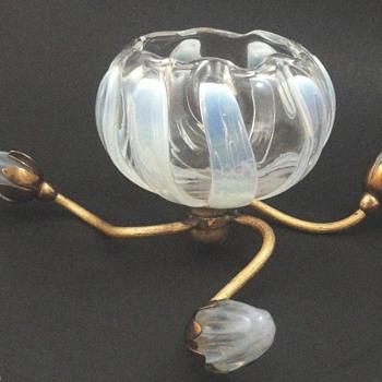 1903 John Walsh Walsh Opalescent Lotus Rosebowl Epergne - Art Nouveau