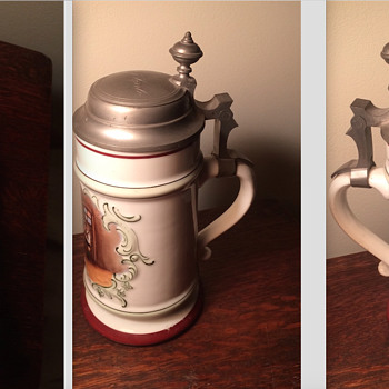 Antique German lidded beer stein