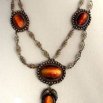 Victorian Festoon Red Tigers Eye Necklace  - Fine Jewelry