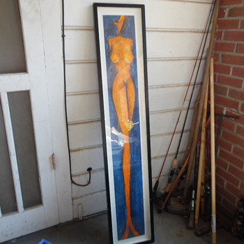 Vintage Very Long Nude Abstract Nude Woman Print - Fine Art
