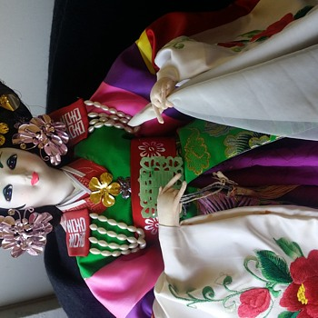 "Traditional Korean Wedding Doll  huge 32"" in original glass case"