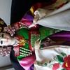 "Traditional Korean Wedding Doll  huge 32"" in original glass case"