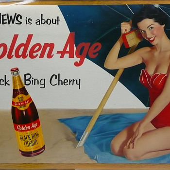 Black Bing Golden Age Cherry Soda Cardboard Large - Signs