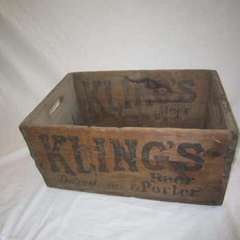 1912 Original Kling's Detroit Michigan Beer Porter Bottle Wood Shipping Crate - Breweriana