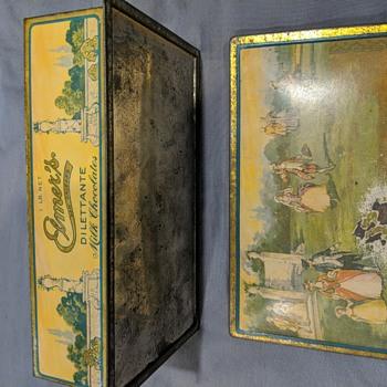 Elmer's Dilettante Milk Chocolates tin - Advertising