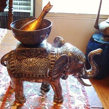 Silver Elephant incense burner or Goose cooker!  From maybe India - Asian