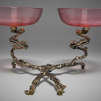 Stevens & Williams, Double Bowl center piece, Late 1800, Early 1900 - Art Deco