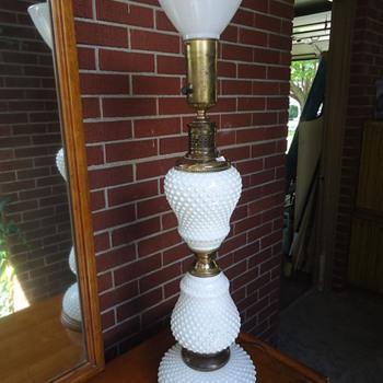 Hobnail milk glass lamps.  - Lamps