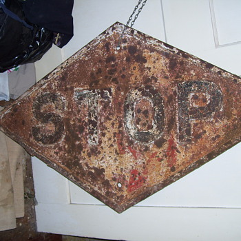 Any Help identifing this? Railroad Diamond Cast Iron STOP Sign - Railroadiana