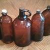 Old brown Clorox bottles