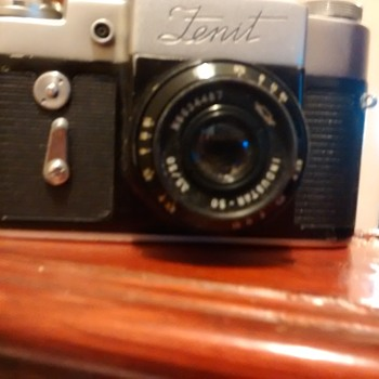 Zenit 3m Engraved Zenit name above lens No66013002 USSR 35mm camera with case, and Industrar 50 lens mint with case.