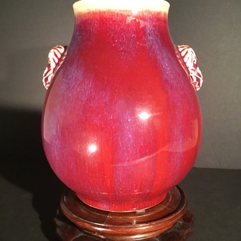 18/19th century Chinese Rouge Flambé porcelain vase with elephant handles Qing - Asian