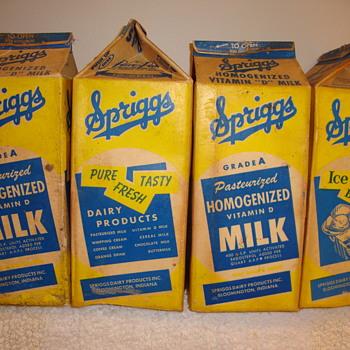 FOUR--SPRIGGS DAIRY...BLOOMINGTON INDIANA MILK CARTONS - Bottles