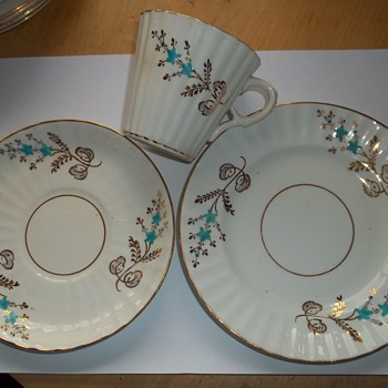 white bone china cup with turquoise blossom & guild leaf. - China and Dinnerware
