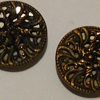 Pair of  Filigree Mirror Backed Buttons Victorian?  - Art Nouveau