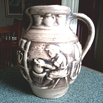 West German Pottery Pitcher /Pottery Shop Relief Design/ Unknown Maker and Circa 1960-70 - Pottery