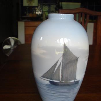 A Royal Copenhagen sailboat vase