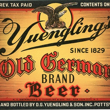 1938 Yuengling Old German Brand Beer Label..... - Breweriana