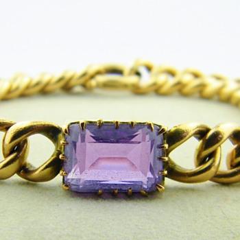 Vintage Deco Emerald Cut Amethyst 14k Rose Gold Bracelet 23.8gr