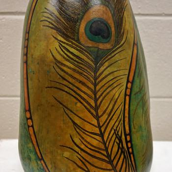 Large Folk Art Gourd w/ Painted Art Nouveau Motif - Martha Danek (2014) - Art Nouveau
