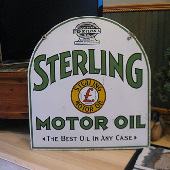 1930's Porcelain Tombstone side walk sign,  Sterling Motor Oil , ( Repro in 4th picture) - Signs