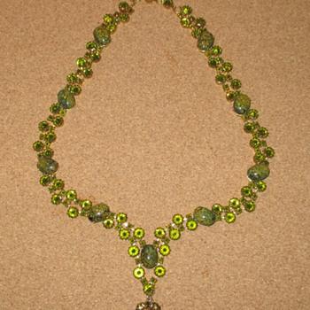 Remarkable Schreiner Inverted Rhinestone Green Glass Necklace - Costume Jewelry