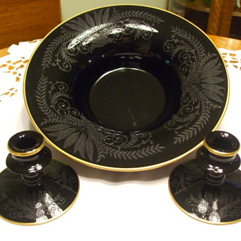 ELEGANT 1920's FOSTORIA Ebony CONSOLE SET- FERN #305 Etching - Glassware