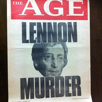 Lennon news poster-1980 - Music Memorabilia