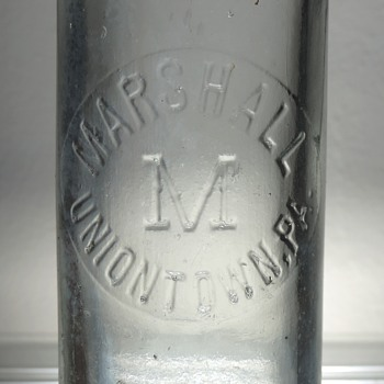 Marshall Bottling Uniontown Soda Bottle Blob Top Embossed Antique Vintage Hutchinson D.O.C. Dominick O. Cunningham - Bottles
