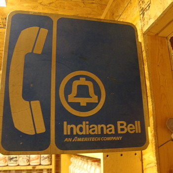 VINTAGE INDIANA BELL TELEPHONE SIGN - Telephones
