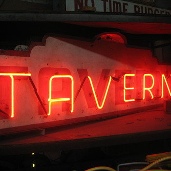 Vintage 1940's TAVERN Antique Neon Sign - Signs