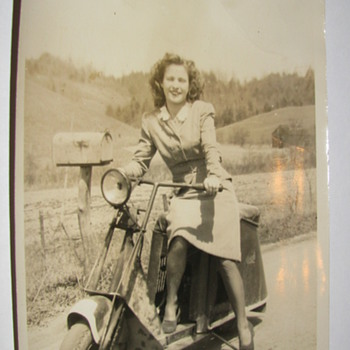 Vintage 5 x 7 Original Photo of Pretty Lady on a Scooter - Photographs