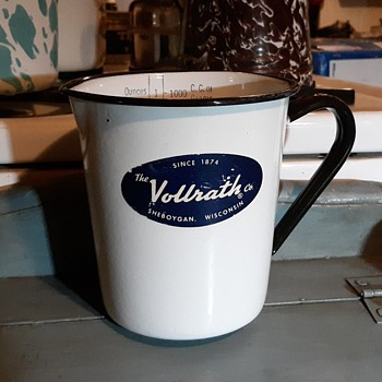 The Vollrath Co 1 Quart Plus Metric Enamelware Measuring Cup Circa 1930 - Kitchen