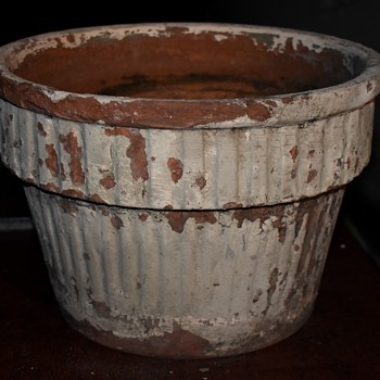 Large Painted Flower Pot - Garden City? - Pottery