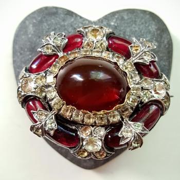 Victorian paste, garnets, silver brooch. - Fine Jewelry