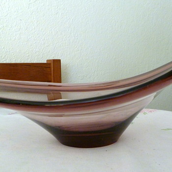Scandinavian Free Form Oblong Bowl - Art Glass