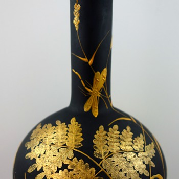 Harrach Black Hyalith Enameled & Gilt Glass Vase, ca. 1887 - Art Glass