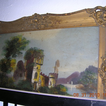 PAINTING ON GLASS, PLASTER PARIS FRAME ?