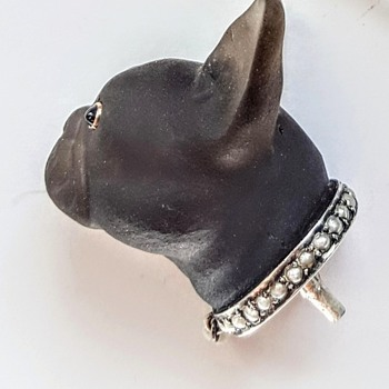 Antique smoked quartz carved French Bulldog's head hatpin, kyratised. - Fine Jewelry