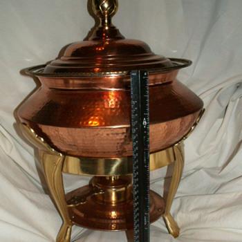 Vintage HUGE Copper ~Hammered~ Baine Marie/Chafing Dish, Lid & Liner W/ Brass Stand & Burner  - Kitchen