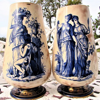 "Antique Pre Doulton Pinder Bourne 15"" x 9"" Vase Pair Unidentified Pattern - China and Dinnerware"