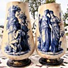 "Antique Pre Doulton Pinder Bourne 15"" x 9"" Vase Pair Unidentified Pattern"