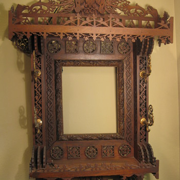 Ornate Tramp/Folk Art Frame w/ Coat Hooks  - Folk Art